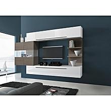 Design White TV Stand Set with Safari Led Wood