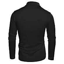 Men Turtleneck Plain T-Shirt - Black
