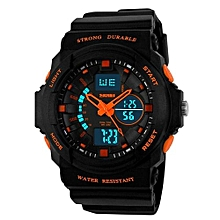 0955 Men Outdoor Sport Digital Watch Waterproof LED Quartz Wristwatches Rubber Strap Male Clock - Orange