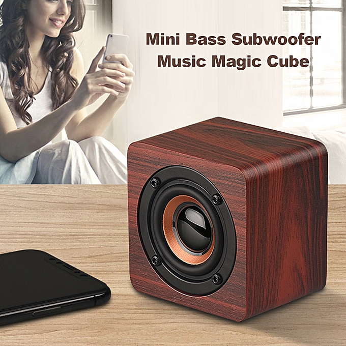 Mini Wooden Bluetooth Speaker Portable Wireless Subwoofer Strong Bass Sound Box Music Magic Cube For Smartphone Tablet Laptop Consumer Electronics