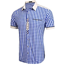 Men Turn Down Collar Short Sleeve Embroidery Plaid Casual Shirts ( Blue )