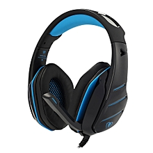 GM - 3 Over-ear Stereo Gaming Headset 2.1m Cable LED Light Bass Headphones with Mic for Computer Game  - Blue and Black