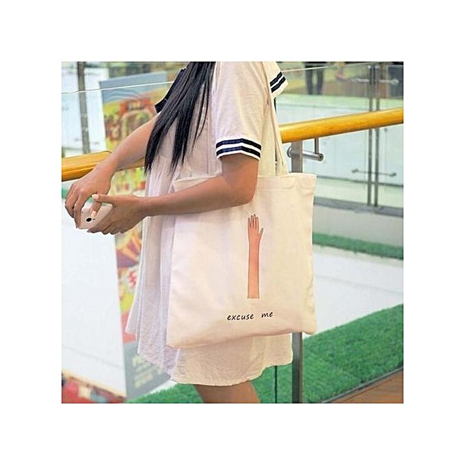 ab7b6f1d7d bluerdream-Women Creative Printing Shoulder Bag Canvas Handbag Totes  Shopper Travel Bags B- White ...