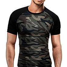 bluerdream-Men's Slim T-Shirt Military Camouflage O-Neck Short-Sleeved Tees CE/L-Camouflage