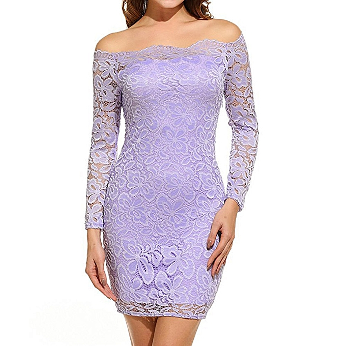 f45ceb35da899 Women Vintage Off Shoulder Lace Evening Party Dress Long Sleeve Dress LP  Off Shoulder Lady Dress