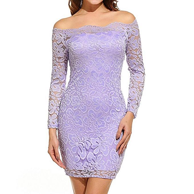 a7497ef752c3 Women Vintage Off Shoulder Lace Evening Party Dress Long Sleeve Dress LP Off  Shoulder Lady Dress