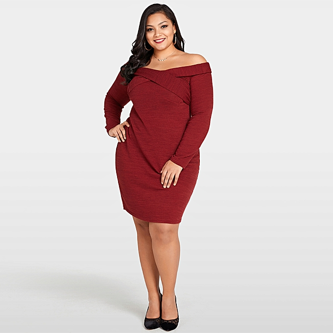 add002e41c7 Sexy Women Plus Size Knitted Dress Off The Shoulder Cross Front Long Sleeve  Slim Bodycon Mini ...