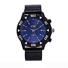 guoaivo CCQ Fashion Men Date Stainless Steel Leather Analog Quartz Sport Wrist -Black