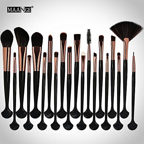 bbf376ce846e Shell Makeup Brush Kit Powder Foundation Concealer Eyeshadow Brush  (Black+Brown)