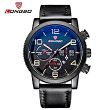 Watches, 80196 Luxury Brand Leather Steel Analog Display Date Men's Quartz Watch Male Business Large Size Watches - Black