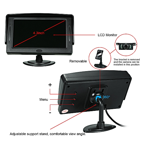 4 3 Inch TFT Color Display Sun Visor Car LCD Monitor Dashboard Screen  Parking Monitor Stand Type with Rearview Camera