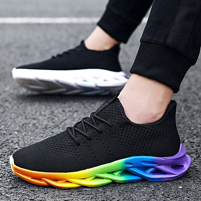 f6571ea0ceab0e Fashion Men's Cool Shoes Mesh Cloth Sneaker Rainbow Sport Shoes Shoe ...