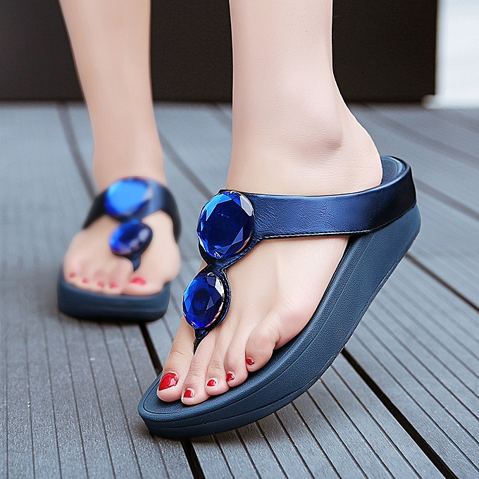 611bd7aa86d Fashion Women sandals summer flip flops wedge beach slippers Blue ...