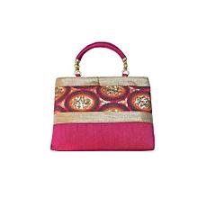 Rainbow Raw Silk Handbag - Pink