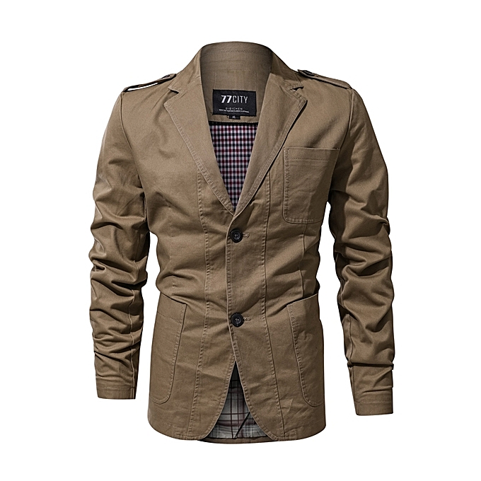 63f7439ff7e7 Epaulet Military Single Breasted Spring Autumn Cotton Casual Blazer Jackets  for Men