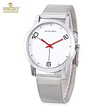 KINGSKY 8209M Female Quartz Watch Concise Style Stainless Steel Net Band Water Resistance Wristwatch