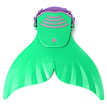 Mermaid Tail Mono Fin Flippers Swimmable Swimming Toy Prop For Kids Girls Study Green-