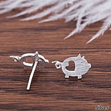 New Cute Heart Pure 925 Sterling Silver Jewelry Silver Piggy Pig Earrings For Women