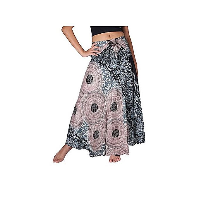 ca426b2719 Hiaojbk Store Women Long Hippie Bohemian Gypsy Boho Flowers Elastic Floral  Hlater Skirt L-Black