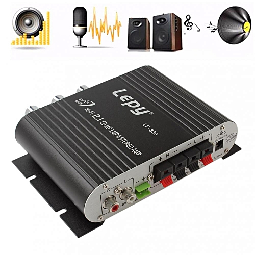 Lepy LP-838 Power Car Amplifier Hi-Fi 2 1 MP3 Radio Audio Stereo Bass  Speaker Booster Player