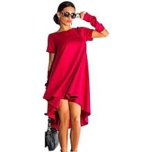 Women O-Neck Casual Shirt Dress - Rose Red