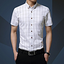 Check Men's Shirts Short Sleeve Slim Fit Business Formal Shirts (White)