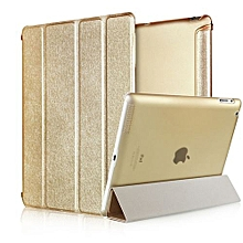 For IPad 3 Case, Coosybo-Smart Cover Folded Ultra Thin Luxury Leather Protective Matte Case For Apple IPad 2 3 4 (Silk-Gold)