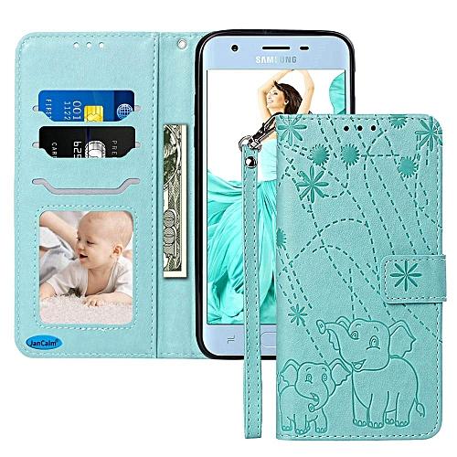 Galaxy J3 Orbit Case, Galaxy Amp Prime 3 Case,J3 Achieve / J3 V 2018  Case,[Wrist Strap][Elephant Pattern] PU Leather Wallet [Card Holder/Cash  Slots]