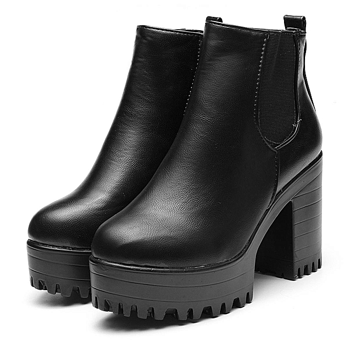 fedcdd34a6b WOMENS LADIES CHELSEA ANKLE BOOTS CHUNKY PLATFORMS BLOCK HIGH HEELS ZIPPER  SHOES