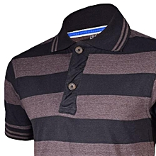 Brown and Grey Striped Mens Pure Cotton Polo T-Shirt