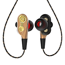 Dual Moving Coil In-Ear Earbud Headphone Mega Bass Wired Phone Laptop Earphone-Golden