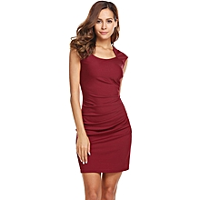 Women Square Neck Solid Bodycon Slim Cap Sleeve Ruched Pencil Dress ( Red )