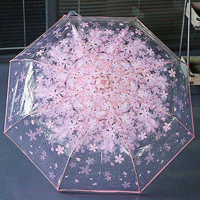 5553194602c8 Home-Women Folding Cherry Clear Umbrella Three Folding 8 Rib Windproof  Umbrella Pink
