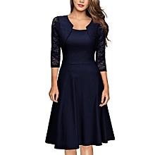 bd17c49fc4 douajso Womens Vintage Lace O Neck Three Quarter Sleeve Wedding Cocktail Party  Dress