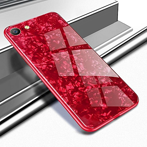 sports shoes 674e8 5096e For OPPO A57 Luxury Hard Tempered Glass Case Marble Shell Pattern Design  Glass Back Cover For OPPO A57 Housing 155263 (Red)