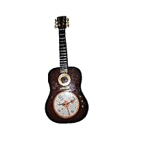 Guitar Wall Clock & Decor – Brown
