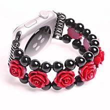 Fashion Sports Black Stone Bracelet Strap Band For Apple Watch Series 2/1 42mm-Black