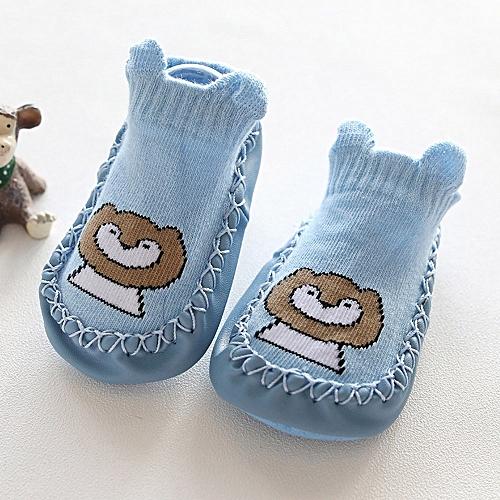 9cfbe8e86120b8 Fashion Newborn Baby Cartoon Animal Baby Girls Boys Anti-Slip Socks Slipper Shoes  Boots-Blue