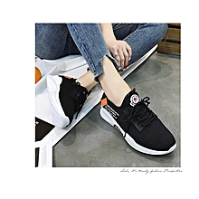 Breathable Knitting Sneakers Women Casual Shoes (Black)