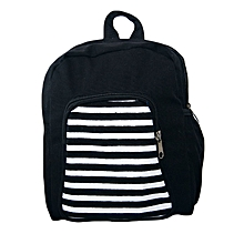 Black canvas trendy school bag with strips prints