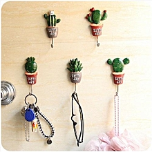 【clearance Sale+ready Stock】Creative Potted Plant Self-adhesive Hook Living Room Bathroom Door Wall Hanger (Ball Cactus)