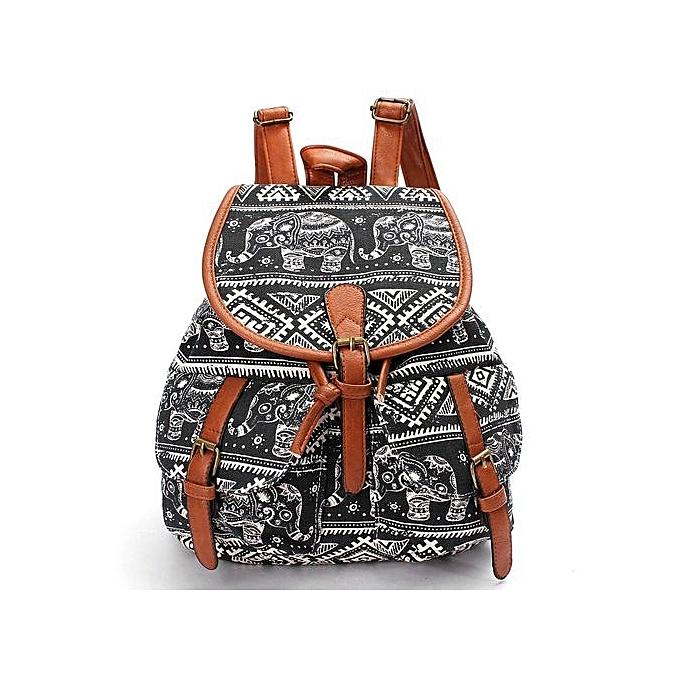 Cute Fashion Women's Canvas Travel Satchel Shoulder Bag Backpack School Rucksack Elephant-Black - Intl