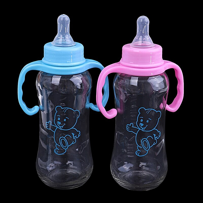 250ml Baby Kids Silicone Bottle Cup Training Cups Baby Drinking Water Straw  Handle Feeding Bottle(Black)