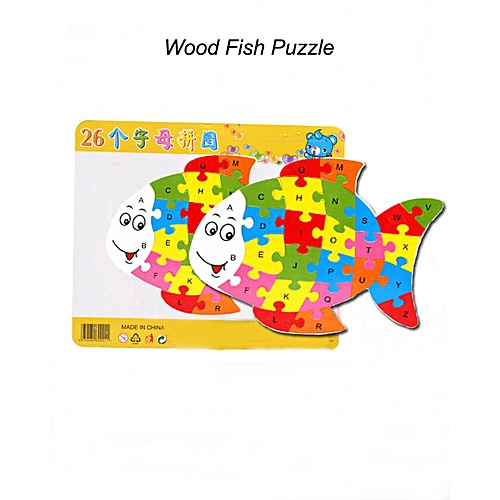 Block Puzzle Wood Word Alphabet Games Mat for Kids – Fish