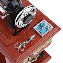 Mini Antique Look Sewing Machine Mechanical toy Music Box Jewelry Box-Brown