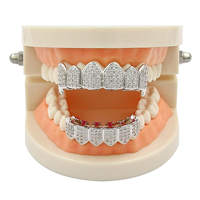 18K Gold w  Silver Plated Top   Bottom Grillz Mouth Teeth Grills High  Quality   8ccbc1ffe3e0