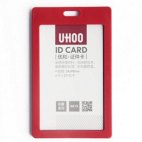 ... Plastic ID Name Card Holder Case Badge Lanyard Neck Strap Necklace Strap Red