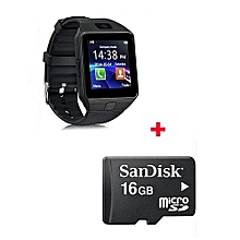 Touch Screen DZ-09 Smart Watch Phone for Android and Apple with Free 16gb Memory card-  Black