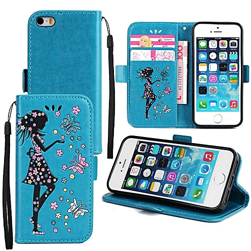 Premium Embossed Butterfly Girl PU Leather Wallet Folio Flip Cases with Detachable Wrist Strap Card Slots Kickstand Function Cover Case for Apple iPhone 5/5S/SE  XYX-S
