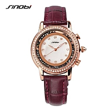 2016 new brand watch women fashion red leather bracelet quartz watches moving beads crystal wristwatches clock for ladies